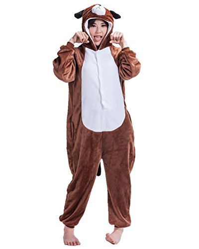 BIFINI Unisex Fluffy Dog Halloween Costumes Pajamas Anime Home Clothing L - Delivery Man Dog Costume