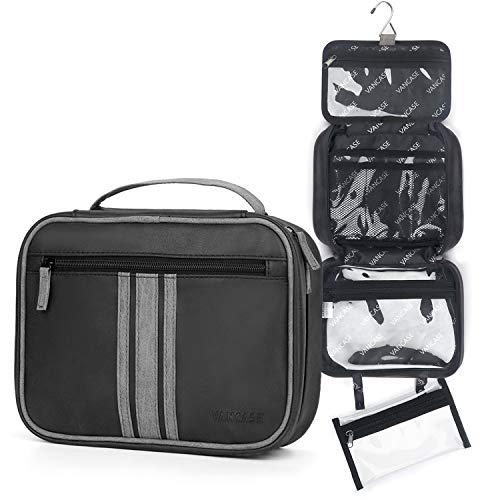 VANCASE Hanging Toiletry Bag for Men Vintage Leather Shaving Dopp Kit Large Folded Bathroom Shower Organizer with 8 Versatile Pockets for Personal Care Travel Accessory