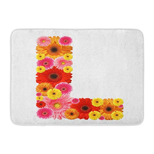 (Emvency Doormats Bath Rugs Outdoor/Indoor Door Mat Pink Daisy L Flower Alphabet White Red Gerber Big Gerbera African ABC Bathroom Decor Rug 16