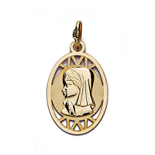 Nina Virgin 18k médaille d'or ajouré ovale 20mm. [AA0183]