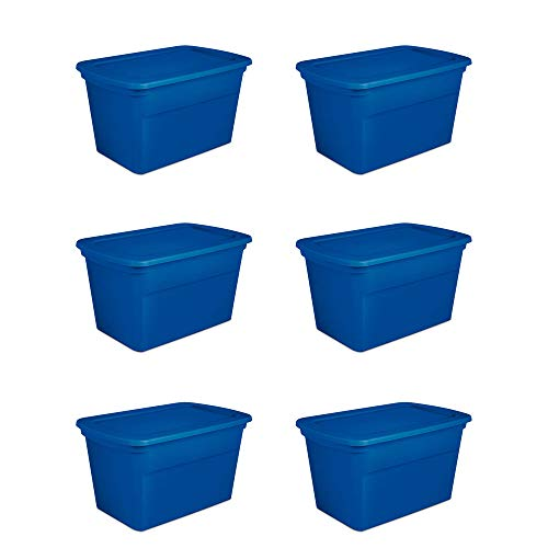 Sterilite 30 Gallon Heavy Duty Stackable Storage Tote, Blue Morpho (6 Pack) ()