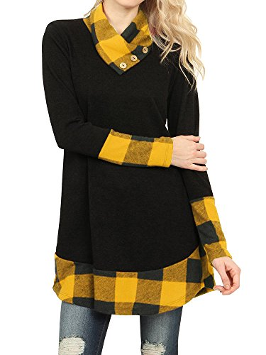 Ofenbuy Womens Tops Casual Cowl Neck Buffalo Plaid Long Sleeve Tunic Shirts, Yellow, X-Large Buffalo Plaid Tunic Top