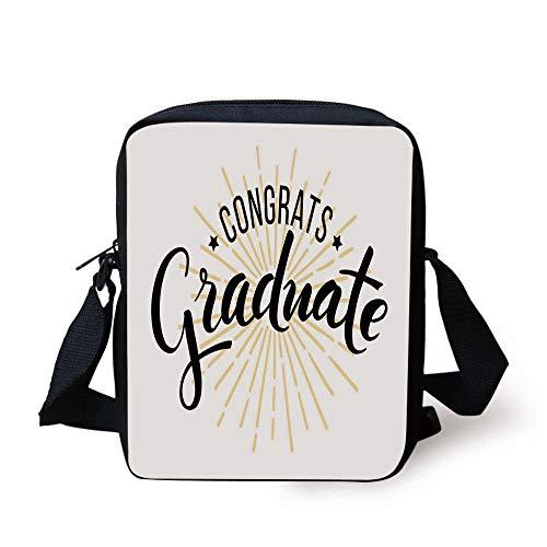 Graduation Decor,High School University Academy Commendation Honors Degree Bachelor,Black White Orange Print Kids Crossbody Messenger Bag Purse
