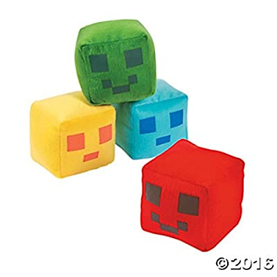 12 Large Plush Pixel Pals Stuffed Square Balls ~ Yellow Blue Green Red