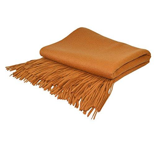 Maison Vue CT-101COPPER Signature Cashmere Blend Throw 50% Cashmere 50% Fine Wool Signature Throw,Copper