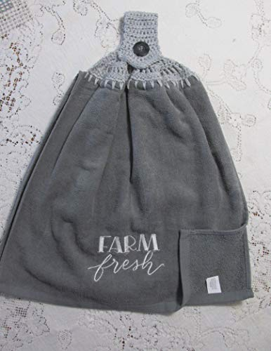 (Gray Farm Fresh Doubled Hanging Kitchen Towel with Light Gray Cotton Crochet Top - Best Quality)