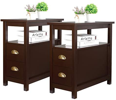 SUPER DEAL Upgraded Narrow Chairside End Table Living Room Bedroom Nightstand w/ 2 Drawers and Shelf - the best living room table for the money