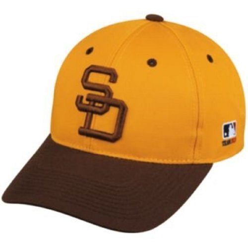 San Diego Padres Cooperstown Jersey - MLB Cooperstown ADULT San Diego PADRES Gold/Brown Hat Cap Adjustable Velcro TWILL Throwback by OC Sports Team MLB Outdoor Cap Co.