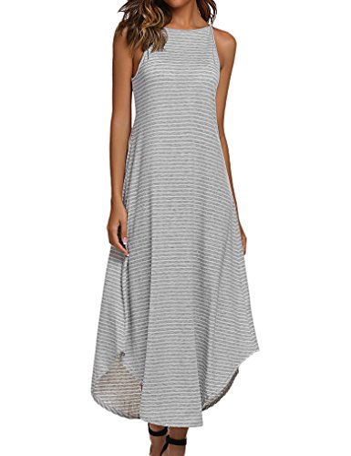 - Halife Women's Summer Casual Loose Striped Long Dress Sleeveless Swing Maxi Dress Gray L