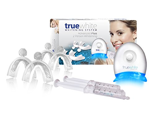 Premium Truewhite Advanced Teeth Whitening Gel System For 2 People - Contains 2 Syringes & 2 Bleaching Trays - Easy to Use Kit & Instructions- Blue 5- LED Accelerator Light - Enamel Safe Ingredients