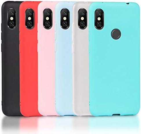 Wanxideng 6 x Funda para Xiaomi Redmi Note 6 Pro, Carcasa Suave Mate en Silicona TPU, Soft Silicone Case Cover [ Negro + Blanco Translúcido + Rojo+ Rosado+ Menta Verde + Azul Claro ]