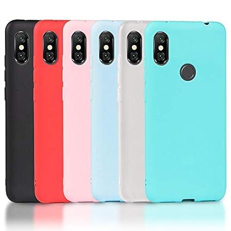 Wanxideng 6 x Funda Xiaomi Redmi Note 6 Pro, Carcasa Suave Mate en Silicona TPU, Soft Silicone Case Cover [ Negro + Blanco Translúcido + Rojo+ Rosado+ ...