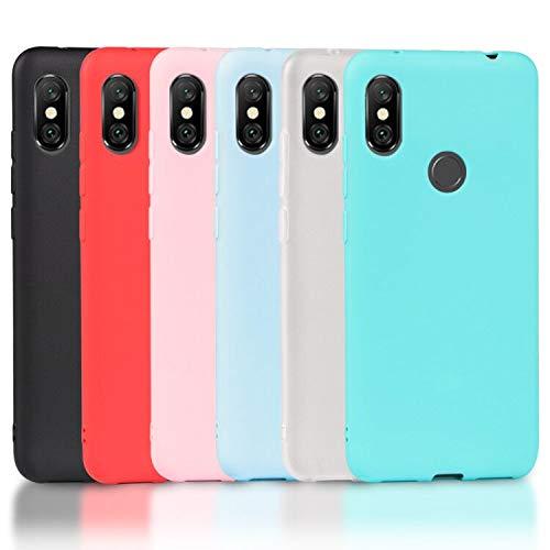Wanxideng 6 x Funda Xiaomi Redmi Note 6 Pro, Carcasa Suave Mate en Silicona TPU, Soft Silicone Case Cover [ Negro + Blanco Translú cido + Rojo+ Rosado+ Menta Verde + Azul Claro ] FBA-181030-TUTU-RMNote6P-TPU-WXD