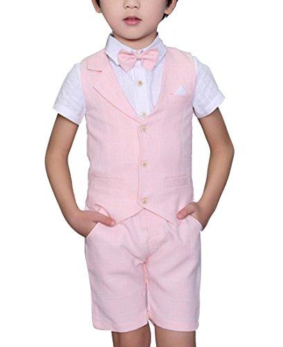 Boys Plaid Summer Suits Vest Set 3 Pieces Shirt Vest and Pants Set 3 Colors (12, Pink)
