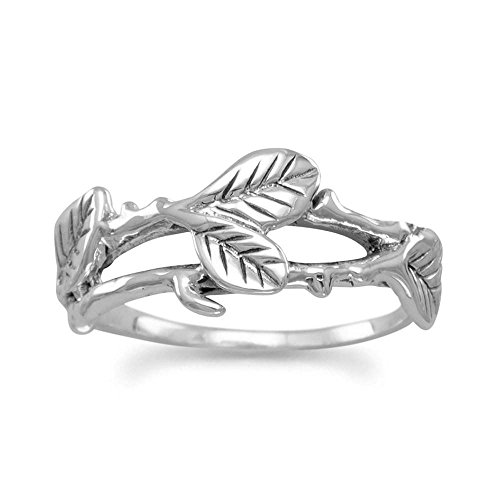 Leaf Vine Design Oxidized Sterling Silver Ring - Nature - Inspired Nature Designs