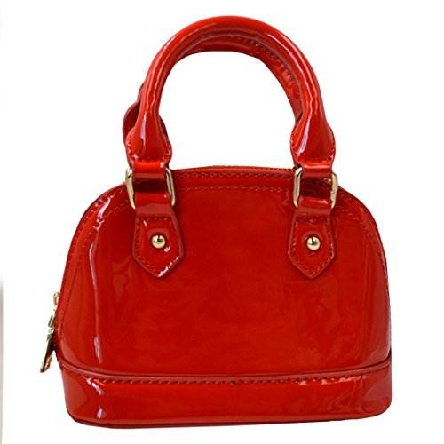 Zip Around Dome Patent Leather Satchel Mini Top Handle Toe Bag Shell Shape Purse Handbags Red