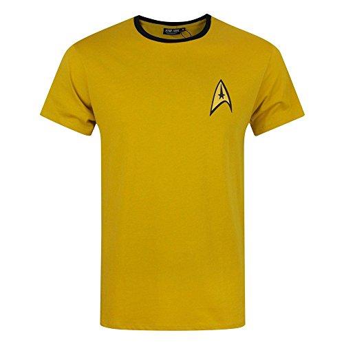 STAR TREK Official Mens Command Uniform T-Shirt (M) (Yellow) ()