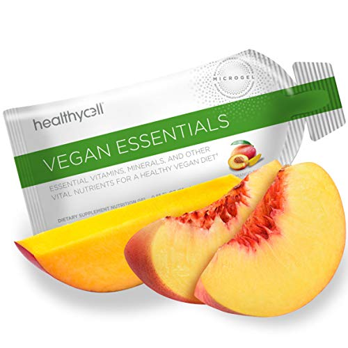 Vegan Liquid Gel Multivitamin - Healthycell Vegan Essentials | Omega 3, B12, D3, Biotin, Iron | Supports Hair, Skin, Nails, Energy | Vegetarian