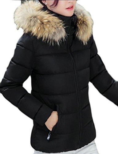 amp;W Hooded Faux Thick Short Outwear Solid Fur Coat Parkas Women's amp;S M Black Winter q5IxUfYn
