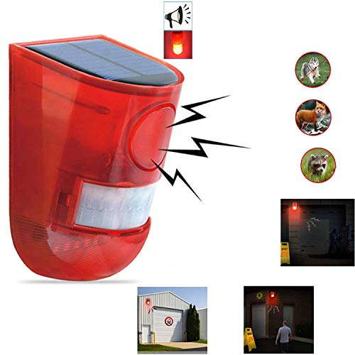 Solar Sound & Light Alarm Motion Sensor 110 Decibels Siren