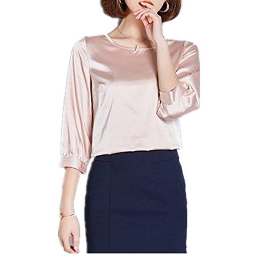 YOUMU Women Elegant Satin Silk Shirt 3/4 Sleeve Loose Business Work Blouse Top (Ch Silk Shirt)