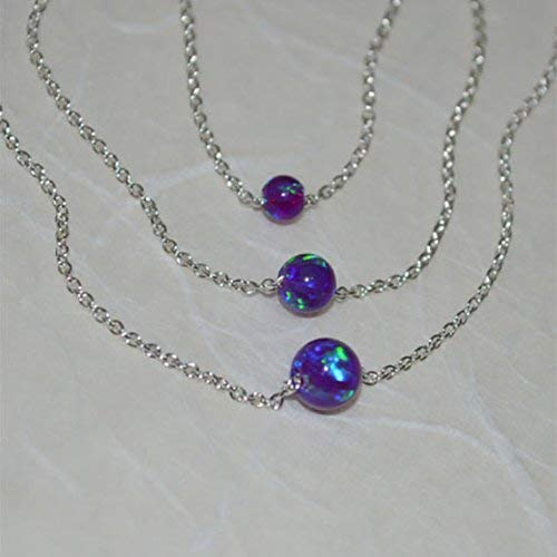 Bead Necklace Opal Ball Simple Elegant Tiny Dot Necklace Opal Jewelry Opal Silver Necklace Purple Opal Necklace