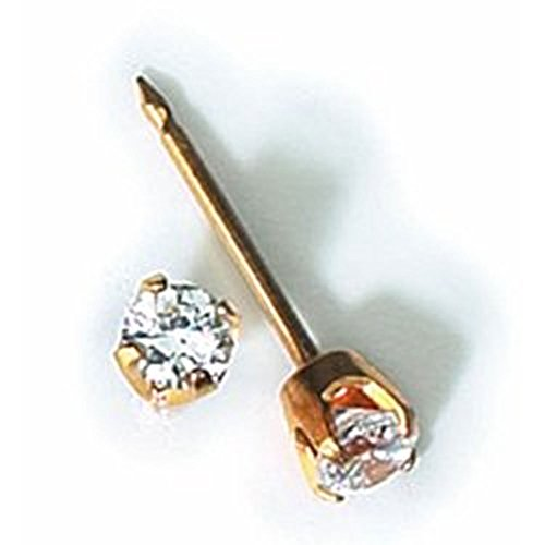 Inverness 24kt Gold Plated 3mm CZ Piercing Earrings 32C
