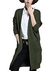 Tidecloth Women's Slim Fit Long Sleeve Solid Straight Hem Cardigan Army green One Size