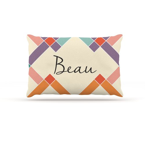 Kess InHouse ''Beau'' Colorful Geometry Name Fleece Dog Bed, 30 by 40-Inch, Rainbow/Tan by Kess InHouse
