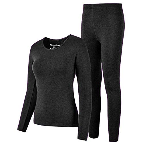 (HEROBIKER Thermal Underwear Women Set Winer Skiing Warm Top Thermal Long Johns, Black, Large)