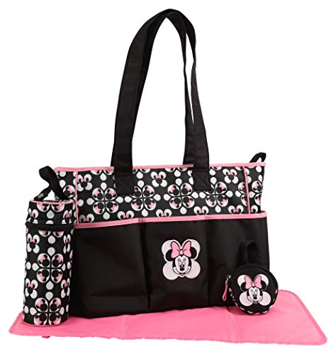 Disney Girls Minnie Mouse Multi Pc Diaper Bag Set, Geo Minnie Print, Large, Black]()