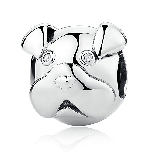 The Kiss Cute Pet Lover Dog Puppy Paw Family Paw Bone Bulldog Dangle 925 Sterling Silver Bead Fits European Charm Bracelet (Cute Puppy Pug dog) Pet Lover Dog Puppy Paw Family (Pug Silver Sterling)
