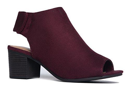 J. Adams Peep Toe Bootie - Low Stacked Heel - Open Toe Ankle Boot Cutout Velcro - London Shop Jimmy Choo