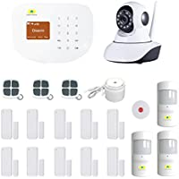 Golden Security GSM & Wireless network wifi 2-in-1 + 360 degree ip security camera portable auto dialer diy Home Security System S2W-C