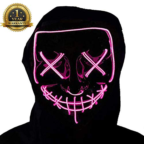 LED Purge Mask Halloween Scary Mask Cosplay Light Up Mask for Adult and Children Pink -