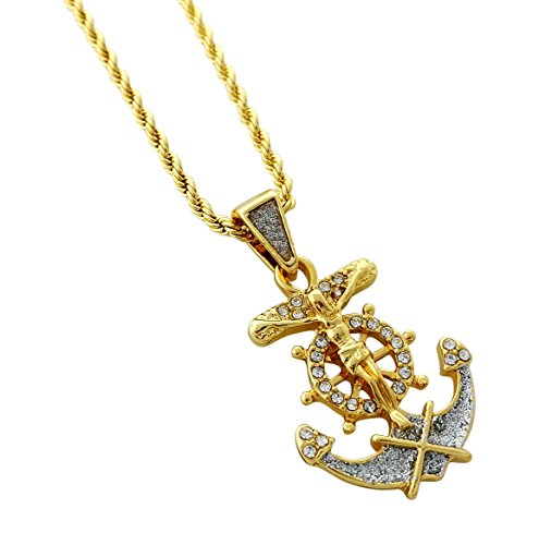 Gold Anchor Crucifix (Mini Jesus Crucifix Anchor Pendant Gold Alloy Necklace with 24