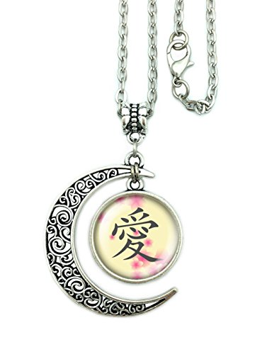 ALNDA Kanji Love Necklace,Japanese Kanji Love Symbol with Chinese Characters for Women