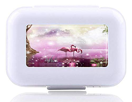 JWDCC Pill Box Decorative Boxes-Flamingo Lilac Sparkles Swamp Water Custom Fashion Style Decorative Pill Case for Purse Pill Organizer Travel Pocket