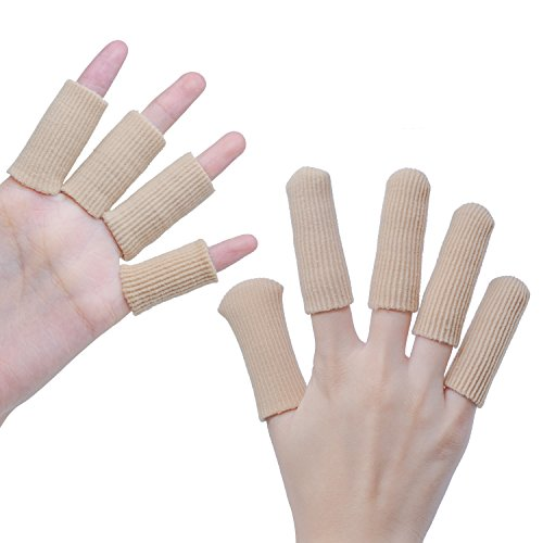 Sumifun Gel Finger Protectors, Gel Finger Sleeves Support Finger Cots for Arthritis Basketball Mallet Finger Trigger Finger Corn Blister Abrasion (Fabric and Silicone Caps)