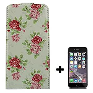 YULIN Rose Pattern Open Up and Down PU Leather Full Body Case Cover with Screen Protector for iPhone 6