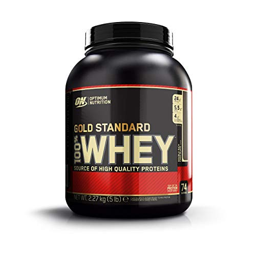 Optimum Nutrition Gold Standard Whey Protein Powder with Glutamine and Amino Acids, Protein Shake by ON - Double Rich Chocolate, 74 Servings, 2.27 kg