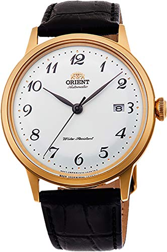 Orient RA-AC0002S10A Men's Bambino Gold Tone Version 5 Arabic Numerals Dial Leather Band Automatic Watch
