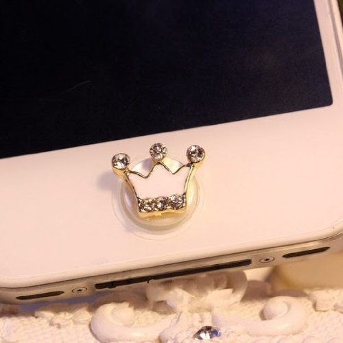 - NiceWave Home Button Sticker - White Crown with Bling Rhinestone for iPhone iPad iPod