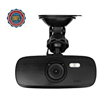 G1W-CB Dashcam Full HD 1080P Car Driving Recorder DVR with Safe Capacitor Novatek NT96650 Chipset and AR0330 Lens 2.7 Inch LCD Screen 140° Wide Angle G-Sensor Black