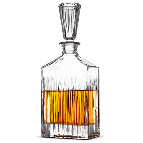 FineDine European Style Glass Whiskey Decanter & Liquor Decanter with Glass Stopper, 30 Oz.- With Magnetic Gift Box - Aristocratic Exquisite Striped Design - Glass Decanter for Alcohol Bourbon Scotch.