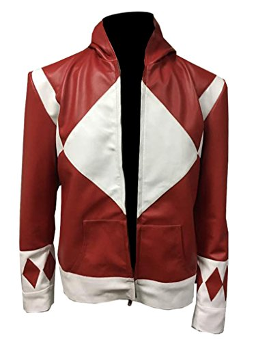 Power Rangers Mens Superhero Costume Mighty Leather Jacket (L, Red)