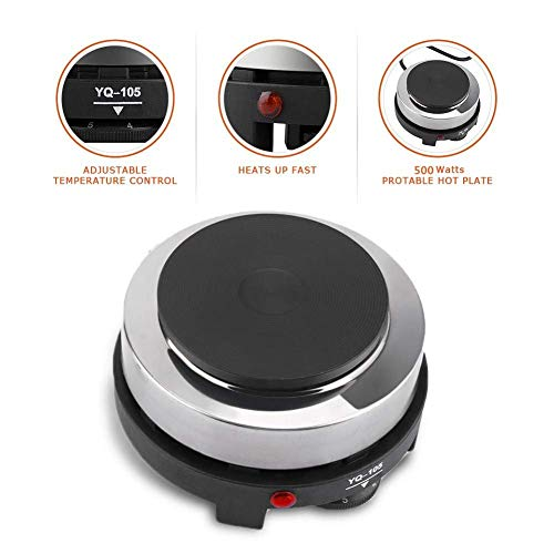Small Hot Plates For Cooking Electric, Haofy Portable Single Burner, Countertop Stove Infrared Burner Stainless Steel - Black