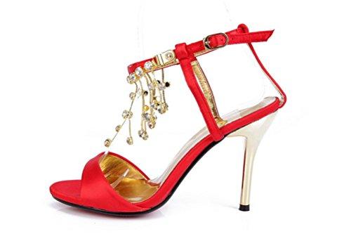 3 High Zoll Hochzeit Sekt SHOMQ1088 3 Rot Fashion Womens 5 Schuhe 5 SEXYHER Sandalen Heel Quasten 6 xpqY06w11