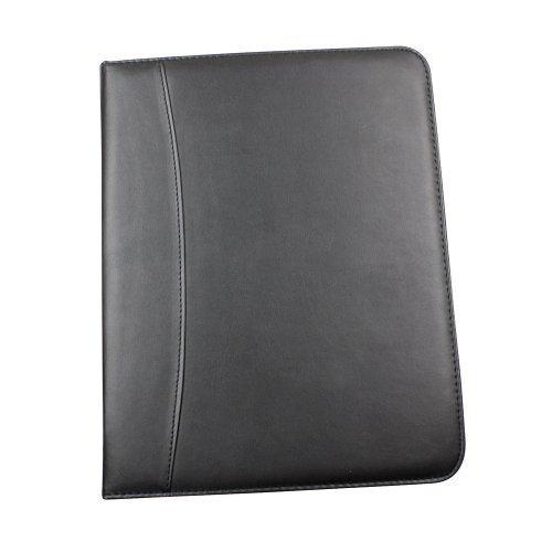 eBuyGB Black PU Leather A4 Zipped Conference Folder Resume Padfolio Executive Portfolio (Conference Zipped Folder)