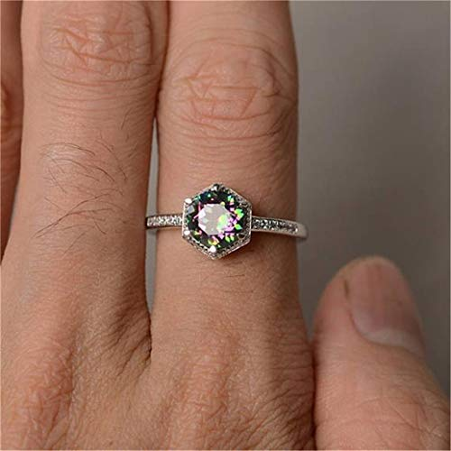 Kshcf Hexagon Diamond Ring Princess Mystic Rainbow Topaz Jewelry Proposal Gift Engagement Party Wedding Band Ring for Women,8 ()